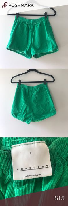 American Apparel Corduroy Green Shorts A cute twist to the basic summer short for your wardrobe, a pair of green corduroy shorts from American Apparel.  •100% Cotton • Wash cold with similar colors; Hang to dry •Made in USA  Features: Elastic waistband, lightweight, back pocket, unlined Please note that these shorts were worn once. American Apparel Shorts