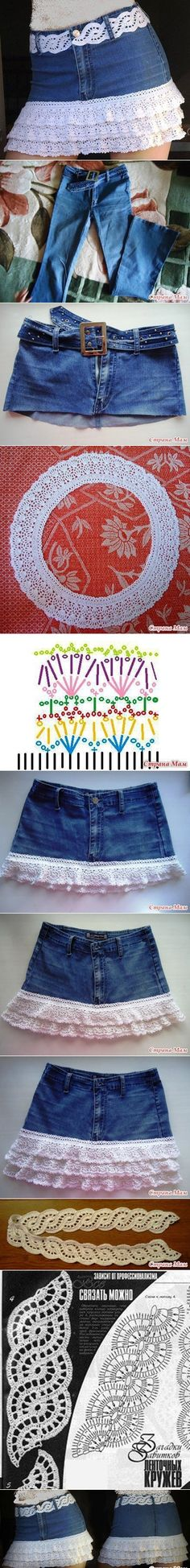 crochet fringed jean skirt tutorial