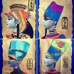 grade Ancient Egypt] For our Egyptian Art topic year 5 created Egyptian Pharaoh mixed media self portraits. History Projects, School Art Projects, Art History, European History, American History, Classe D'art, 6th Grade Art, Art Lessons Elementary, Elementary Teaching