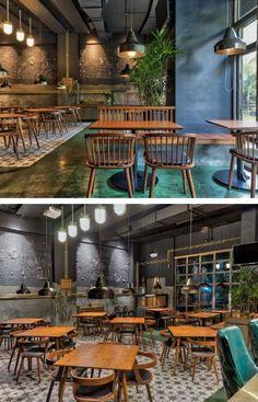Concrete Finishes, Concrete Wood, Teak Wood, Restaurant Interiors, Restaurant Design, Cement Walls, City Restaurants, Waiting Area, Yellow Painting