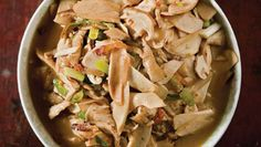 """The chicken in this stir-fry is coated in a mixture of egg white and cornstarch before cooking—a technique called velveting (see """"Smooth Move,"""")--to preserve its succulence. See the recipe »"""