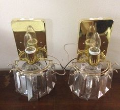 1970s vintage brass and wall pair of sconces. Great for a hallway, doorway or to accent wall decor. 5 rectangular beveled lucite prisms. by ReCHICUnique on Etsy
