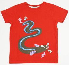 c0079015 Mini BODEN Boys Electric Eel Applique Top Tee Shirt ~ Size 5-6 LOOKS NEW tt