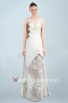 Fashionable Column Bridal Gown Holding Floral Accents and Illusion Design