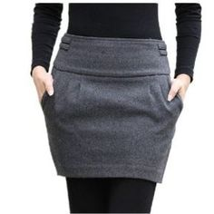 Winter Skirt 2015 Women Fashion Autumn Fall Brand Plus Size Slim Hip Zipper Closed Pocket Bud Short Thick Warm Wool Skirts Mode Outfits, Fall Outfits, Casual Outfits, Tutu En Tulle, Winter Rock, Style Feminin, Slim Hips, Look Fashion, Womens Fashion