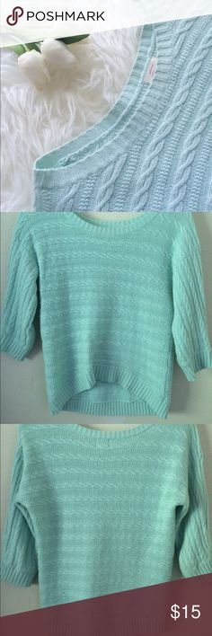 Mint Blue Mossimo Sweater 3/4 Sleeves. Perfect for a chilly summer night. Not too heavy / not too thin. Stains on the front. Mossimo Supply Co Sweaters Crew & Scoop Necks