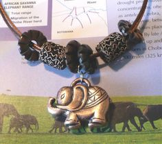 Copper Elephant Metal, Wood Necklace