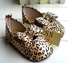 Guess Soft Sole Baby Girl Leopard Print Crib Shoes