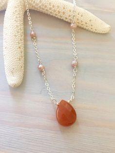 Gemstone Teardrop Necklace Red Adventurine Dainty by LaniMakana