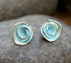 Soft Robin's Egg Blue Enamel Rose Stud Earrings by meltemsem