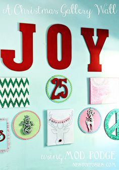 Make a #Christmas Gallery Wall at TidyMom.net with NestofPosies.com #ModPodge #MichaelsStores