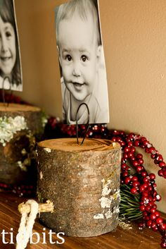 Great Stocking Holder Idea... Also doubles as a picture holder. Iy would be really easy to DIY this...