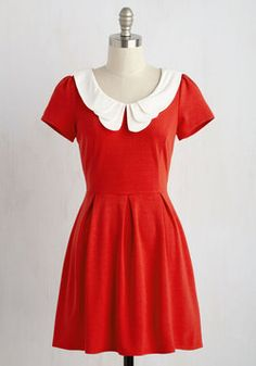 Looking to Tomorrow Dress in Rouge. You're always one to keep your outlook rosy and your countenance cheery, so it's no surprise that your buoyant attitude translates to your zesty sense of fashion. #red #modcloth