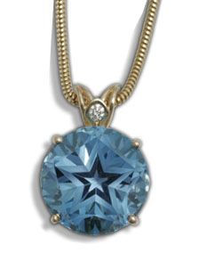 Solitaire Star Pendant with Diamond Crown by C. Kirk Root Designs