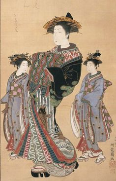 Main detail of a painting featuring courtesan Hinazuru and two attendants. Hanging scroll, 1772-1781, Japan, by artist Isoda Koryusai.      MFA (William Sturgis Bigelow Collection)