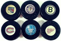 Original six hockey pucks Hockey Games, Hockey Puck, Hockey Mom, Hockey Players, Ice Hockey, Boston Bruins Hockey, Chicago Blackhawks, Original Six, Hockey Boards