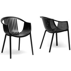 Baxton Studio Grafton Black Plastic Stackable Modern Dining Chair -Set of 2 - Home - Furniture - Dining & Kitchen Furniture - Dining Chairs Black Dining Chairs, Dining Chair Set, Side Chairs, Desk Chairs, Dining Tables, Dining Area, Plastic Chair Design, Plastic Chairs, Outdoor Chairs