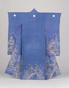 Japan  Woman's Summer Kimono (Katabira) with Pine, Fishing Nets, and Dragonflies, early Meiji period (1868-1912), first half of 19th century  Costume/clothing principle attire/entire body, Ramie crepe (chijimi) with paste-resist dyeing (shiroage) and handpainted pigments, 58 1/8 x 48 in. (147.64 x 121.92 cm)  Gift of Mrs. Wedworth W. Clarke (61.33.7)  Costume and Textiles Department.