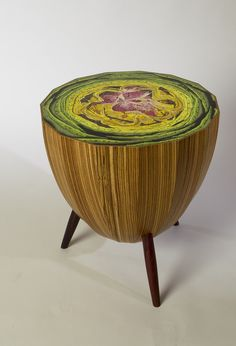 Artichoke Table by David Rasmussen: Made of molded plywood faced with zebra wood veneer and cocobolo legs. Painting executed by Scot Harris which has been sanded and treated for durablility. $2,900 #Table #Artichoke #David_Rasmussen #Scott_Harris