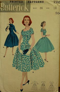 Butterick 7716(Vanny collects old patterns from Yard Sales and creates her own retro dresses)