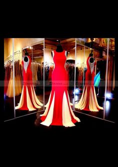 8adbb1ed7c2d Satin Prom Dress Sheath Column Scoop Neck Sweep Train! Stacees PromDress