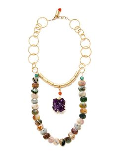 Multicolor Agate & Amethyst Pendant Drop Necklace by Alanna Bess Jewelry at Gilt
