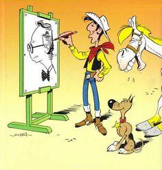 Lucky Luke drawing his creator Morris Vintage Comic Books, Vintage Comics, Bd Comics, Funny Comics, Bd Lucky Luke, Jean Giraud, Serpieri, Bilal, Looney Tunes Cartoons