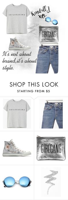 """""""Untitled #3"""" by lejlahurtic ❤ liked on Polyvore featuring MANGO, RE/DONE, Converse, Sarah Baily, Revo, NYX and xO Design"""