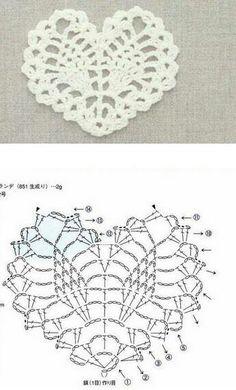 Luty Artes Crochet: Corações em crochê + Gráficos.
