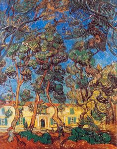 Vincent van Gogh (Dutch, Post-Impressionism, 1853-1890): Trees in the Garden of Saint-Paul Hospital (also known as: Hospital at Saint-Rémy, or Trees in front of the Entrance to the Asylum), 1889. Oil on canvas, 90 x 73 cm. Armand Hammer Museum of Art and Culture Center at UCLA (Hammer Museum), Los Angeles, California.