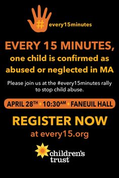 DATE CHANGE: Our #every15minutes rally to #stopchildabuse will be held on Friday, April 28th. Same time, same place. Help spread the word! Register here: every15.eventbrite.com  #ChildAbusePreventionMonth
