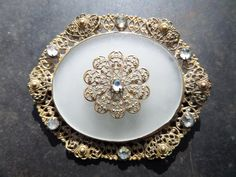 large filigree broochart deco filigree by CodettiSupply on Etsy