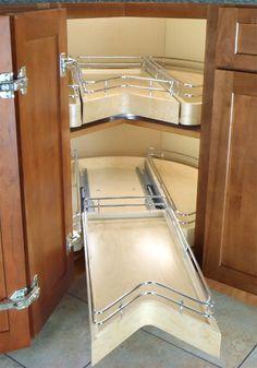 Omega National Easy Access Blind Corner Pantry Single Shelf Unit Maple Birch