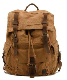 Large Canvas Leather Hiking Outdoor Travel Backpack #canvasbackpack #canvasleatherbag #hikingbackpack
