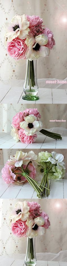 Sweet Home Deco 10'' Blooming Peony and Anemone Silk Artificial Wedding Bridal Bouquet/ Home Flower (No Pot Included) (Pink1)