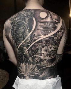 Japanese Tiger Tattoo, Japanese Tattoo Designs, Japanese Sleeve Tattoos, Samurai Tattoo Sleeve, Samurai Warrior Tattoo, Tattoo No Peito, Archangel Tattoo, Temple Tattoo, Hannya Mask Tattoo