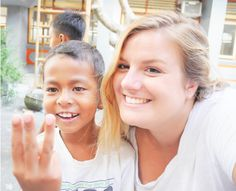 Intern Matilde is having fun with one of the students from program Ubud. #fun #adorable
