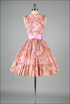 Vintage 1950s Dress  Pink  Brown  Crepe by mill street vintage, $215.00