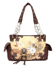 Look at this Cowgirl Trendy Brown & Cream Feather Satchel on #zulily today!