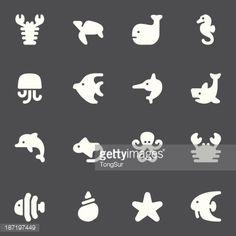 Vector Art : Marine Life Icons | set - White Series