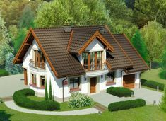 Courtyard House Plans, Attic House, Simple House Design, Micro House, Roof Design, Wooden House, Design Case, Jacuzzi, Home Fashion