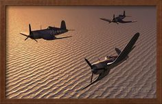 American Vought F4U Corsair Aircraft in Flight During World War II Print - BFD