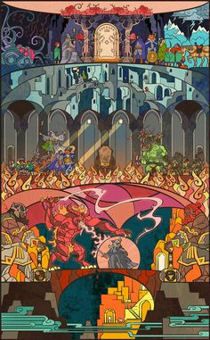 Stained Glass-Style Illustrations for 'Lord of the Rings' by Jian Guo