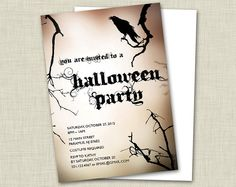 CUSTOM Halloween Invitations w/ Envelopes by elbeecreative on Etsy, $15.00