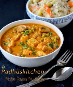 Padhuskitchen: Mushroom Matar Paneer Gravy Recipe-Paneer Mutter M...