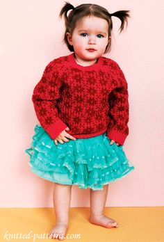 Girl's Fair Isle Jumper: free knitting pattern. Knitting Patterns Free, Knit Patterns, Free Knitting, Baby Knitting, Free Pattern, How To Purl Knit, Knit Purl, Bebe Baby, Fair Isle Pattern