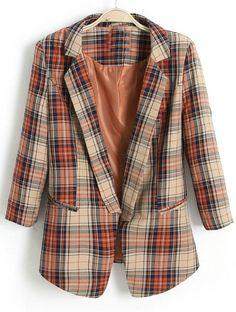 Blazer cuadrados con soplada y bolsillos-Rojo y naranja  EUR25.38