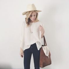 Hat + jeans + slouchy top