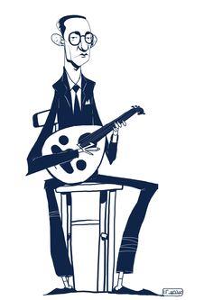 Brilliant caricature of Egyptian singer/songwriter Mohammed Abdel Wahab