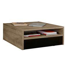 Tempo Table basse avec 2 tiroirs coloris noir et niche de rangement